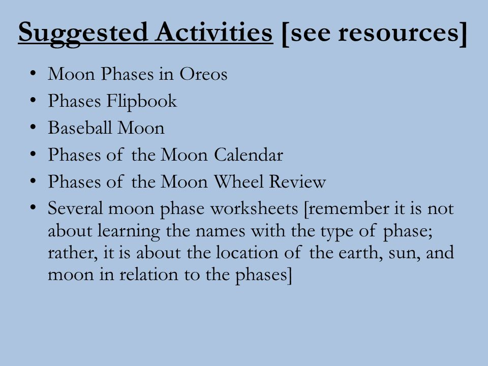 Suggested Activities [see resources]